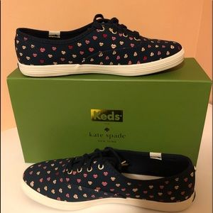 New! Kate Spade Keds (Navy Lips) sneakers